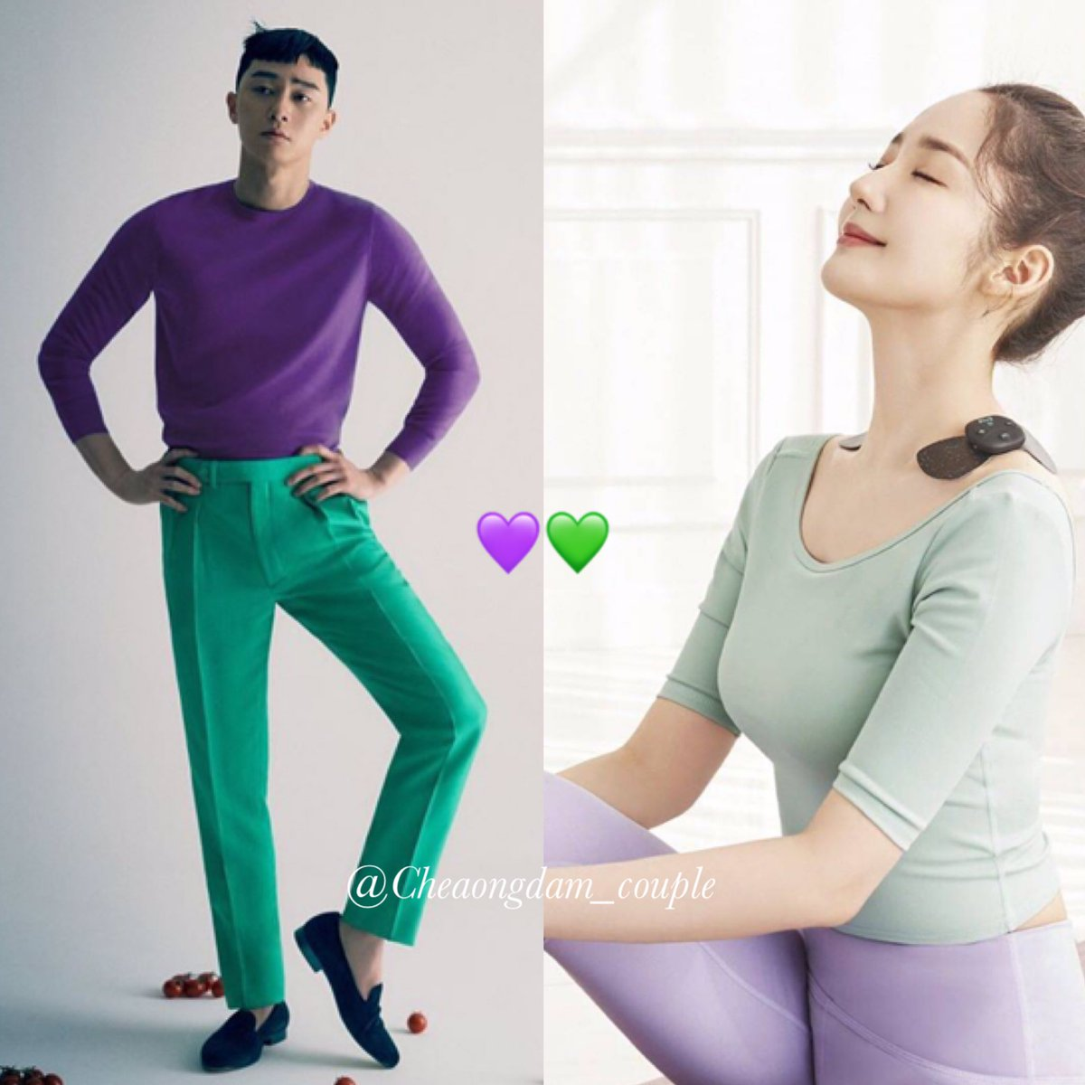 💜💚 อารมณ์มันได้ สีมันใช่ !!😜😍 #parkparkcouple image of the day!😘  PSJ magazine shooting #tsingapore  PMY CF shooting #klug_korea  #ParkMinYoung #박민영 #박서준 #ParkSeoJoon #ParkParkCouple #2ParkCouple #CheongdamCouple #WhatsWrongWithSecretaryKim https://t.co/VLMwSI84td
