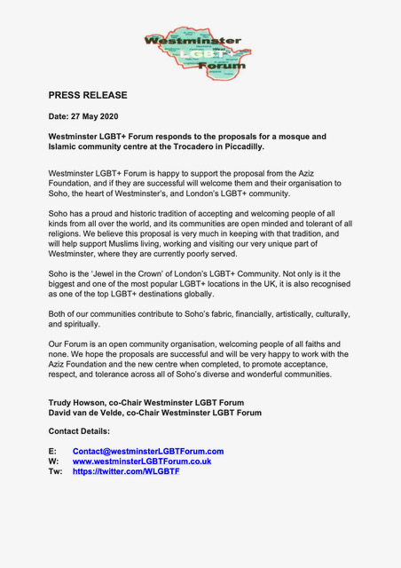@standardnews Excellent article re Mosque at the Trocadero! Here is Westminster LGBT+ Forums response to the application.pic.twitter.com/RO1O3hnN54