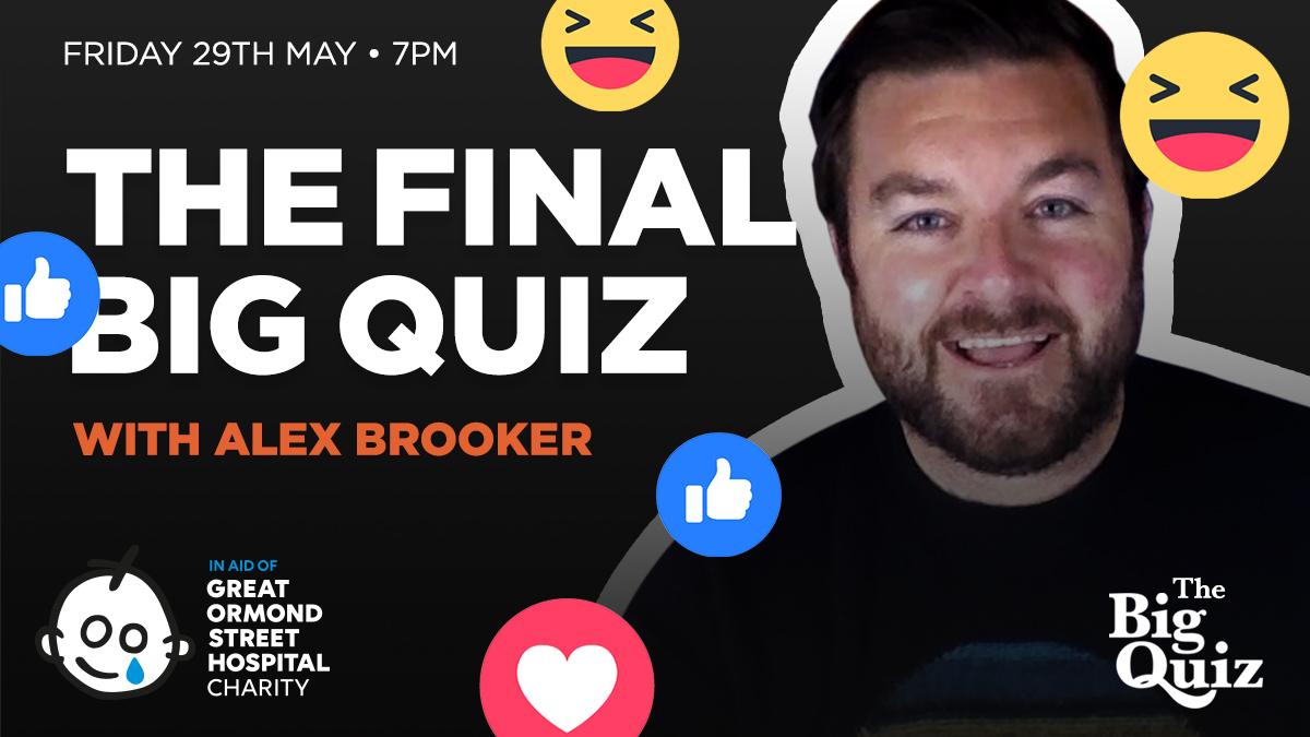 Join us on Facebook Live tonight for the final edition of The Big Quiz, in association with @GOSHCharity & hosted by  @TheLastLeg's @alex_brooker!  We'll be giving you the chance to win some great prizes, as well as raising money for a fantastic cause!  https://t.co/A6AwF4fitg https://t.co/roVmB0IkN0