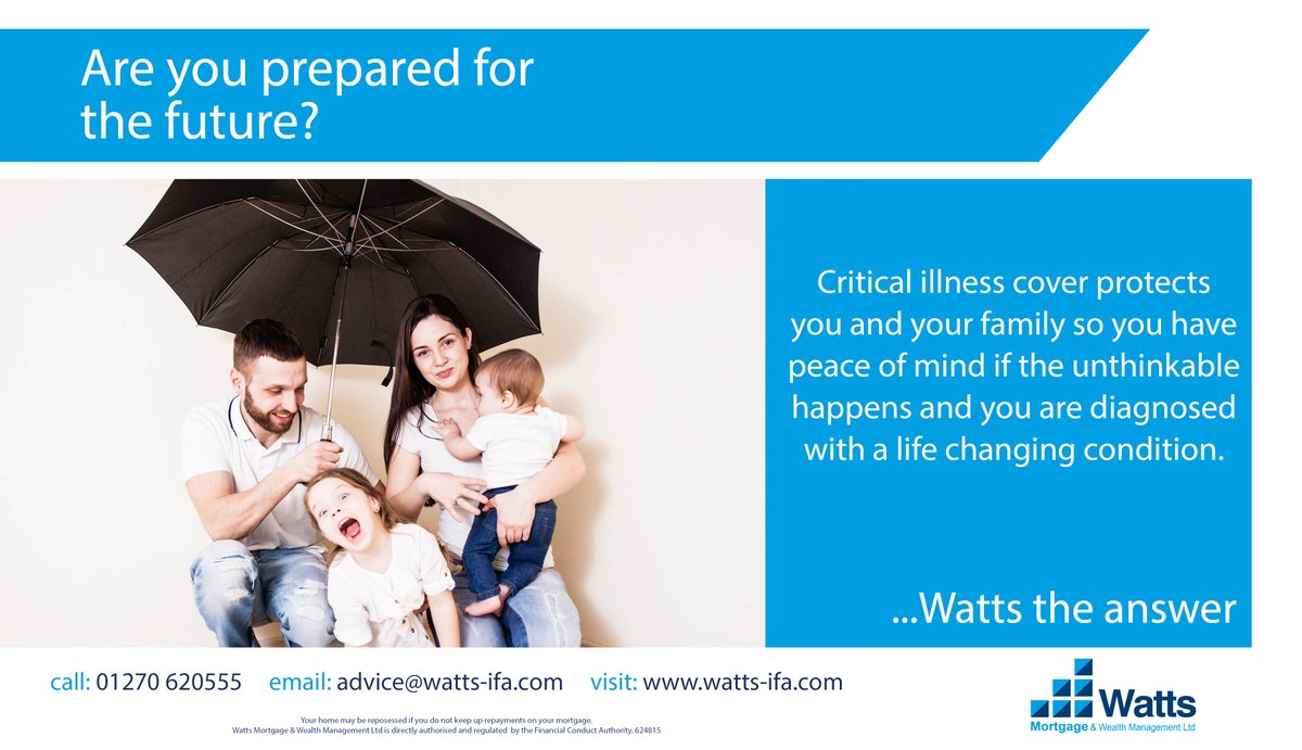 1/3  Are you prepared for the future?  Critical illness cover protects you and your family so you have peace of mind if the unthinkable happens and you are diagnosed with a life changing condition.  #heretohelp #protectionadvice #lifeinsurance #criticalillness <br>http://pic.twitter.com/lth8kk0PWQ