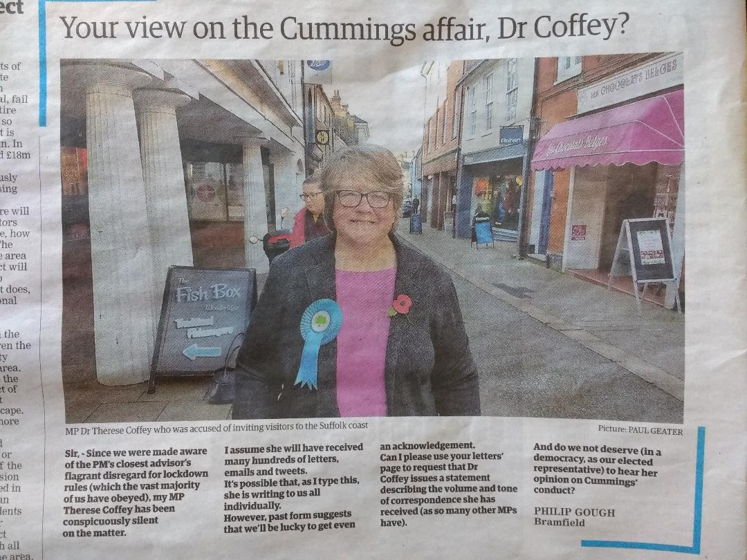 My letter in today's East Anglian D. Times. Johnson, Cummings and the government want us to get over not only the advisor's hypocritical conduct,but their disastrous handling of the pandemic.If we go silent they will be free to wreak further havoc. Keep posting, sharing, writing! <br>http://pic.twitter.com/zofJtaQlyy
