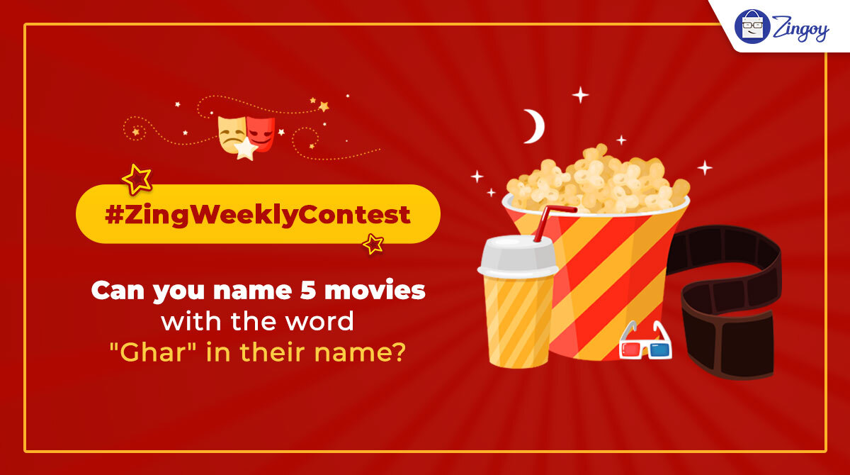 """In this contest, you'll have to name 5 movies which  have the word 'Ghar' in their names! Tell us in the comments.""  #ContestAlert #contest #ContestOfChampions #contestalertindia #fridaymorning #movies #quiz #Quarantinepic.twitter.com/hwnFuIfWt4"