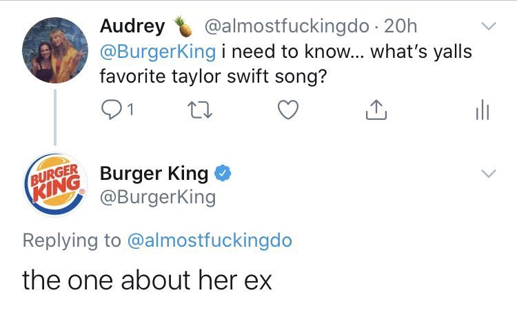 Big 98 7 On Twitter Apparently Taylor Swift Burger King Have Beef Now No Bun Intended Burgerkingisover Burgerkingisnotoverparty Taylorswift Swifties Https T Co Henfciet1p
