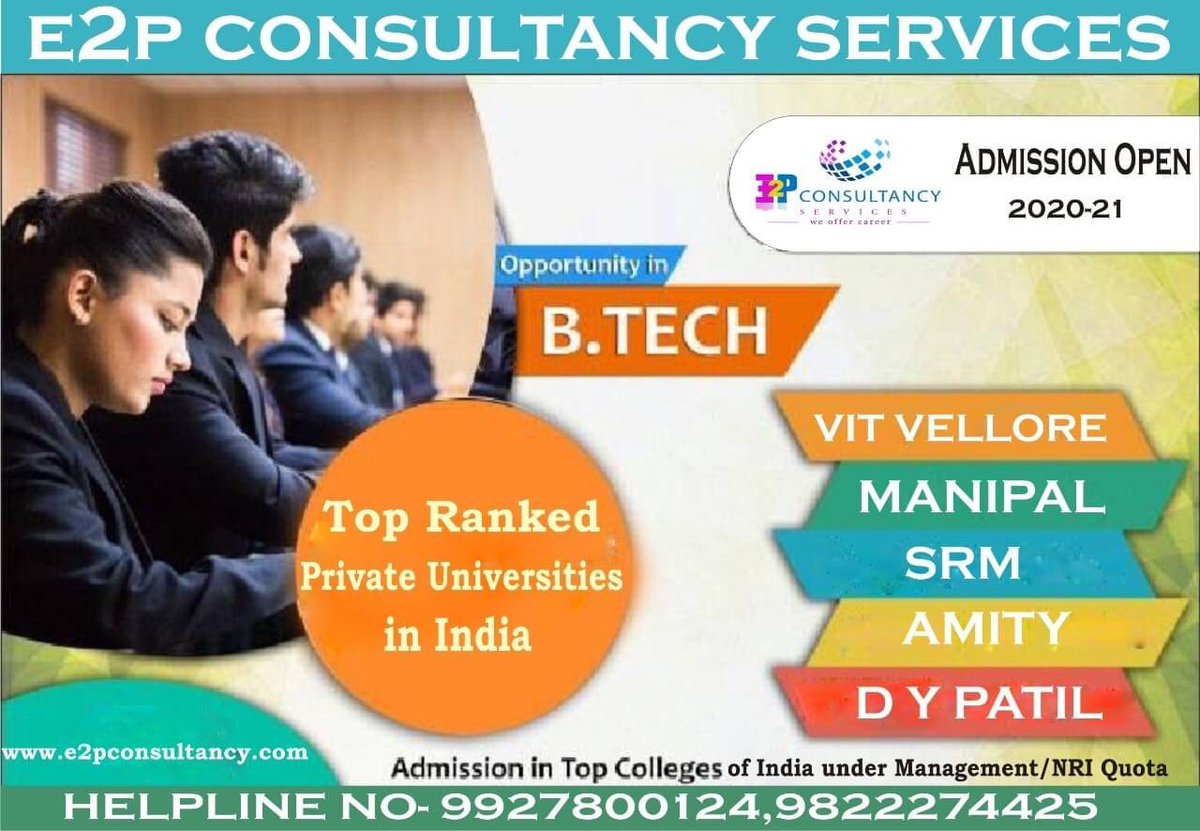 #jee2020 #btechstudents #bestudents #toprankeduniversities #computerscience #managementquota #nriquota #informationtechnology #mechanicalengineering #electronicsandcommunication  For detailed information +919927800124/+919822274425 OR logon to http://www.e2pconsultancy.compic.twitter.com/SZdrWOfznP