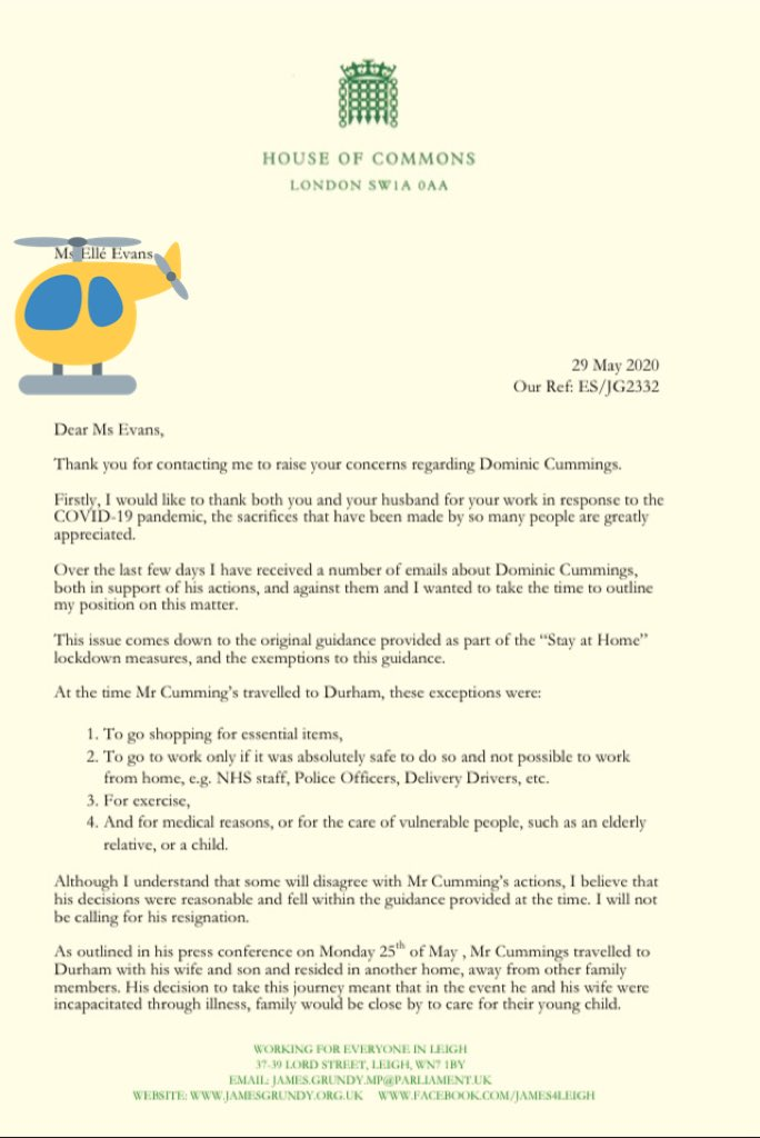 Just received my response from James Grundy, MP for Leigh. It's even more spineless than I imagined; I shouldn't be disappointed but I am. It's now clear that we don't have an MP who will stand up for us, we have a minion of Cummings. #DominicCummings pic.twitter.com/Gqmkal2tmD