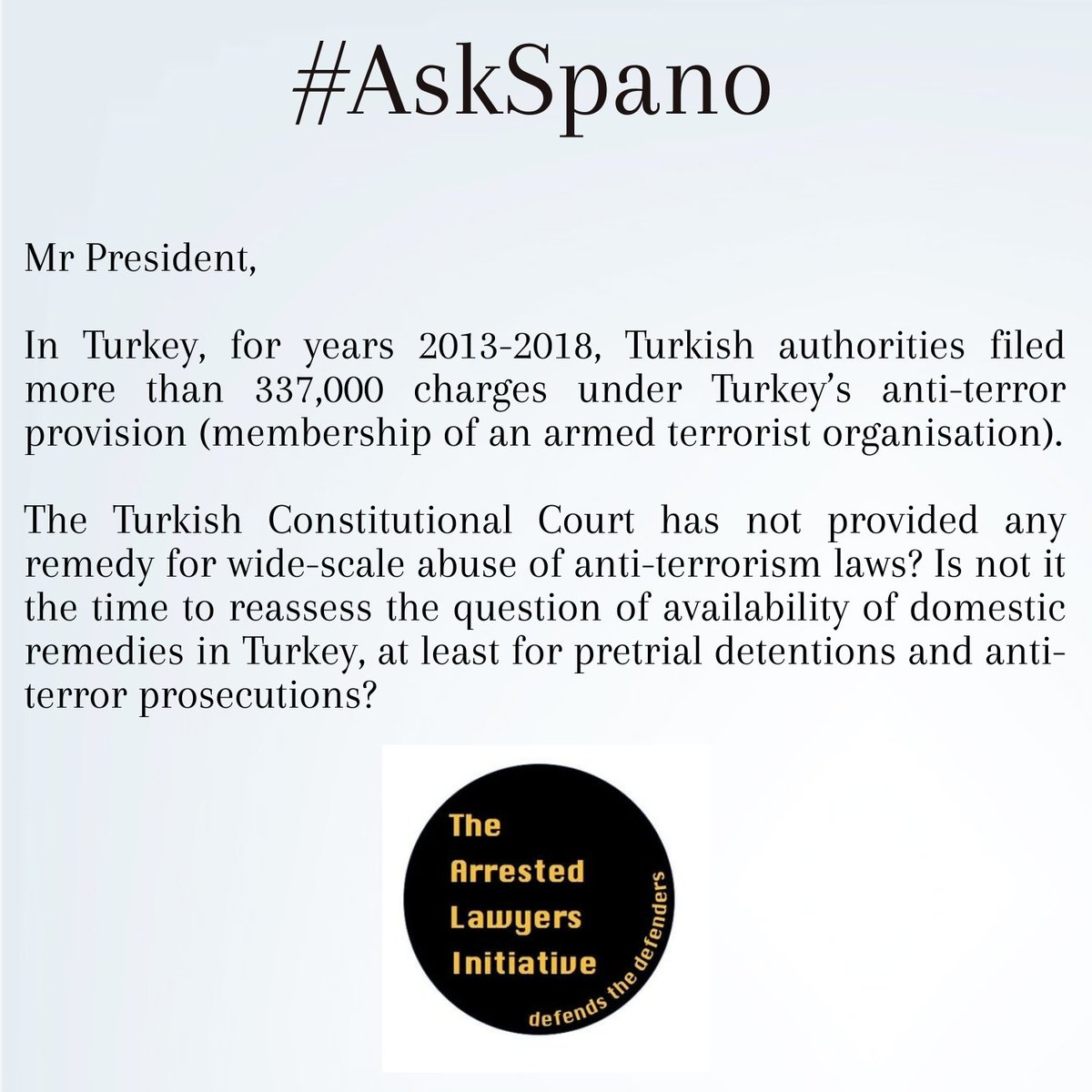 #AskSpano @Verfassungsblog @iCourts_jur Constitutional Court hasnt provided any remedy for wide-scale abuse of anti-terrorism laws? Is not it time to reassess the Q of availability of domestic remedies in #Turkey, at least for pretrial detentions & anti-terror prosecutions?