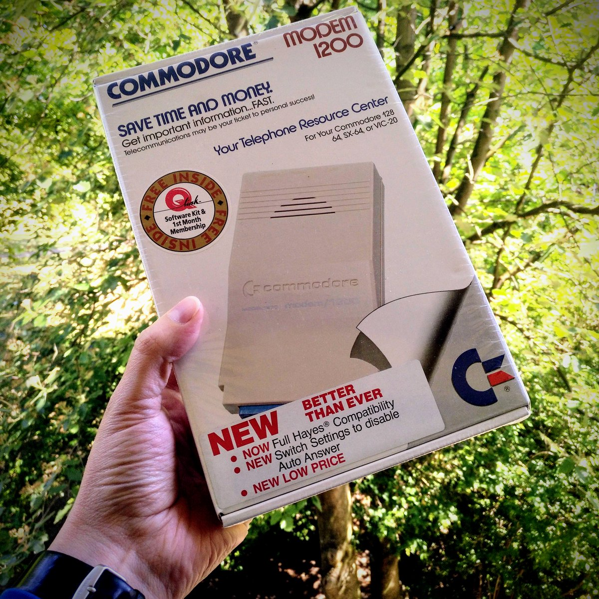 Got me a brand new and still sealed #commodore modem. Why? Because it's better than ever ... and it comes with a free month of Quantum Link!  #retrocomputingpic.twitter.com/Bw7Fw521tE