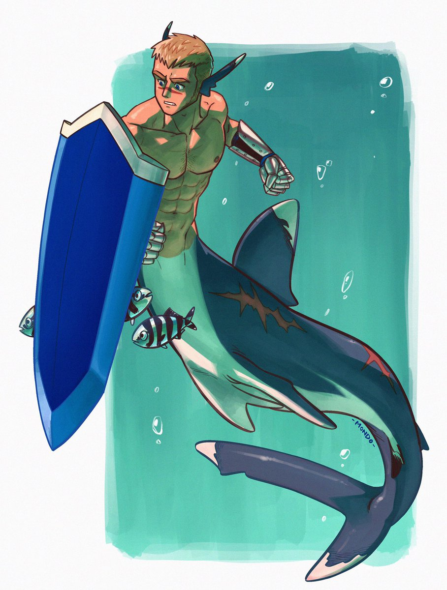 Oceanic white tip shark Leius. And those little fish are pilotfish, they like to hang around sharks. P.s. I gave him a bit of chest hair ;)) hheehee #mermay #shark #leius #shield #muscle #oceanicwhitetipshark #bara pic.twitter.com/37RXtGOctq