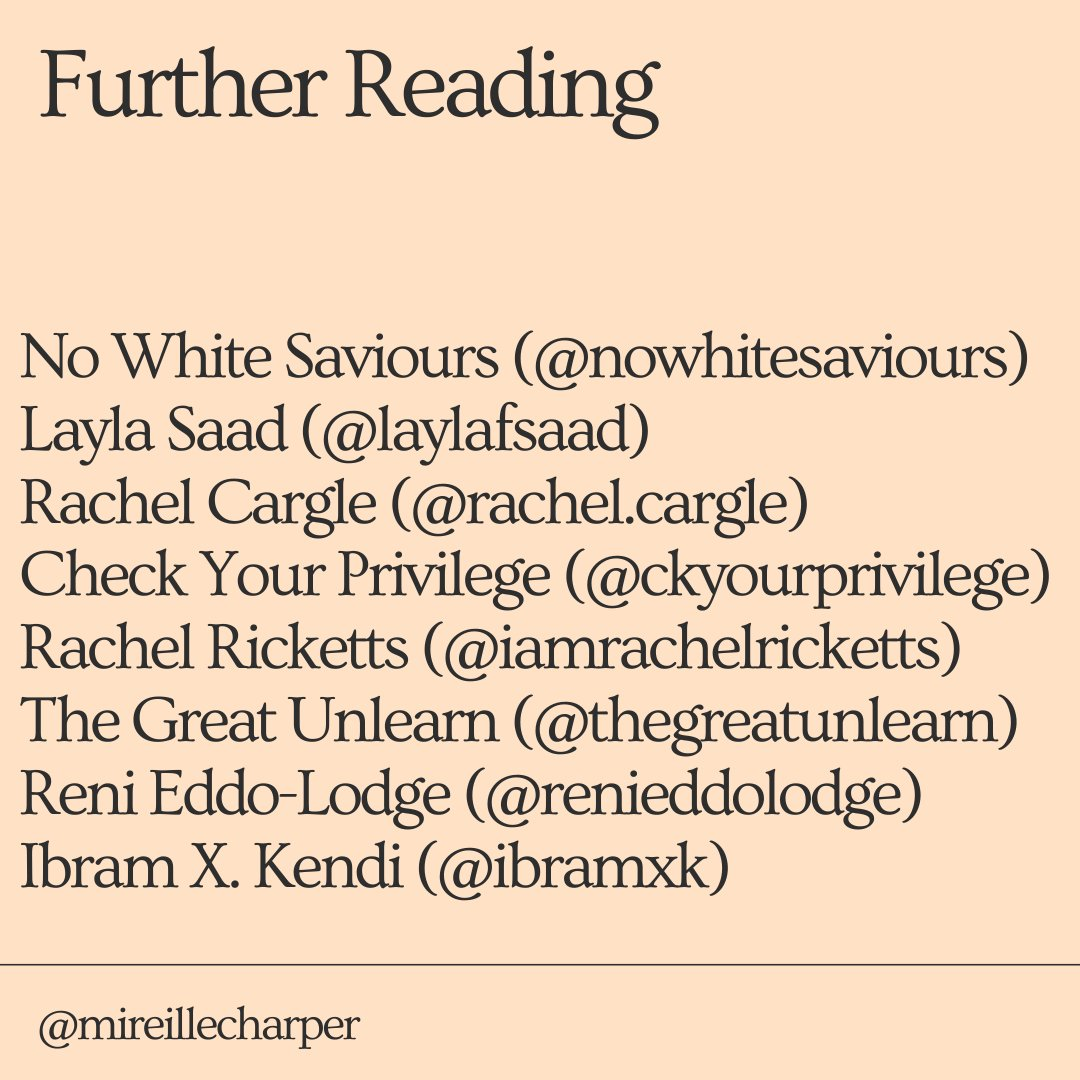 Further reading: @nowhitesaviors, Layla Saad, @RachelCargle, Rachel Ricketts, Check Your Privilege, The Great Unlearn, @renireni, @DrIbram, @akalamusic . I have learnt all of this from their works + the works of bell hooks, Audre Lorde and my Jamaican mum, grandmother + aunties.