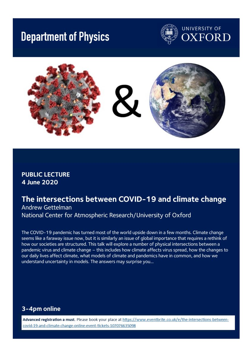 📢Join us next week for 'The intersections between COVID-19 and climate change', an online public talk by Andrew Gettelman (@AtmosScience @OxfordAOPP). Everyone is welcome to join us, but registration in advance is a must. Please register here:   https://t.co/7YGRqeKjJ0 https://t.co/gjv8sP5ApI