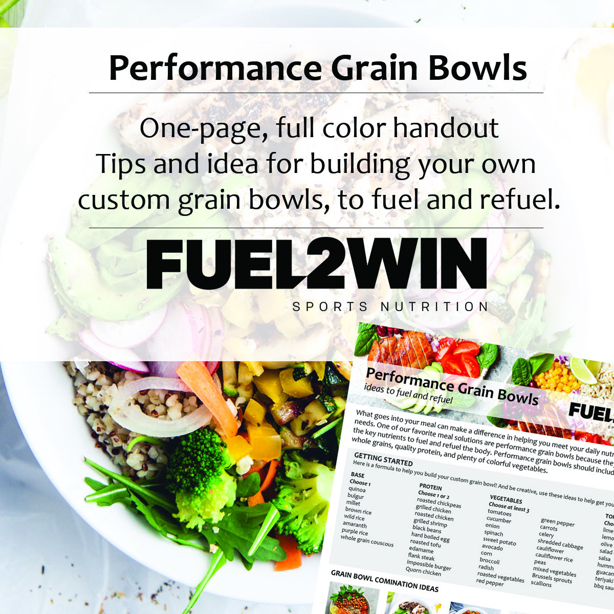 NEW! Performance Grain Bowl handout now available... check it out: http://fuel2win.com/blog/2020/5/29/performance-grain-bowls …  What are you fueling with?? #thefuel2win #dinner #performance pic.twitter.com/I75kP1C0r0