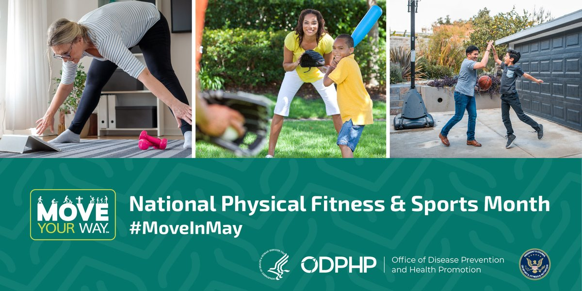 National #PhysicalFitness and Sports Month may be coming to an end, but you can still find ways to #BeActive even as we continue to practice #SocialDistancing! Visit https://t.co/5J91ff0c4T for tips and ideas to #StayActive all year long. #MoveInMay https://t.co/Ezpxl9TGIJ