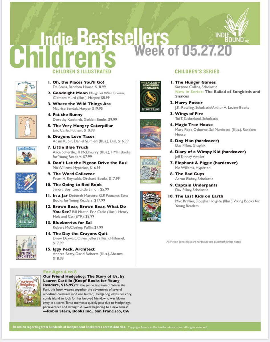 Congrats to @studiocastillo  for #ourfriendhedgehog getting a call out as an Indie Favorite this week.  #indiebookshops @penguinkids