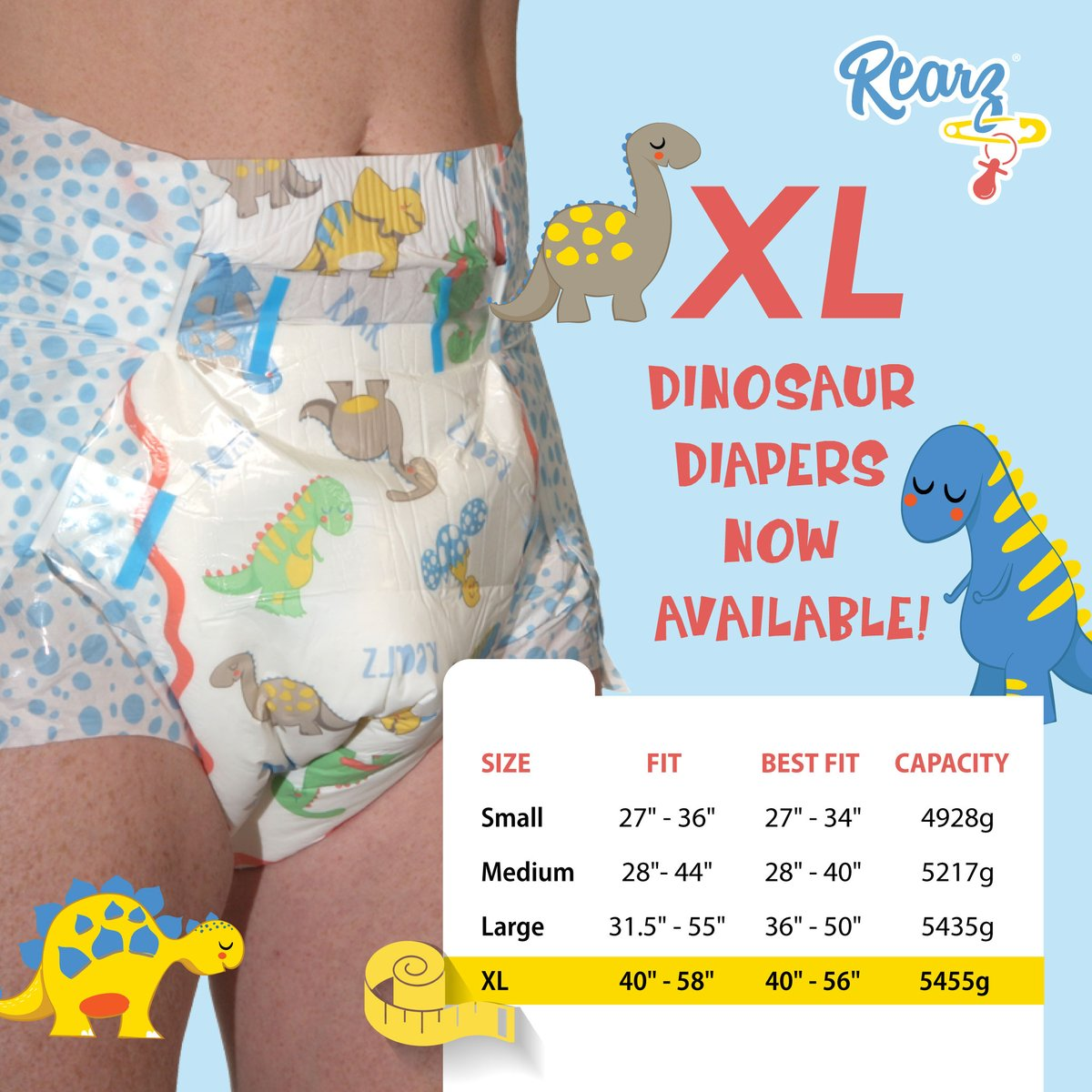 XL Dinosaur Diapers now available!  https://t.co/R5zzDhMVSi  #rearz #rearzinc #rearzdiapers #adultdiapers #adultnappies #diaperfetish #abdl #cglg #cglb #diaperbutt #incontinence #abdldiapers #adultbaby #diaperedbum #ageplay #littlespace #diaperlover #thickdiapers #abdlcommunity https://t.co/nnJp9dXDB4