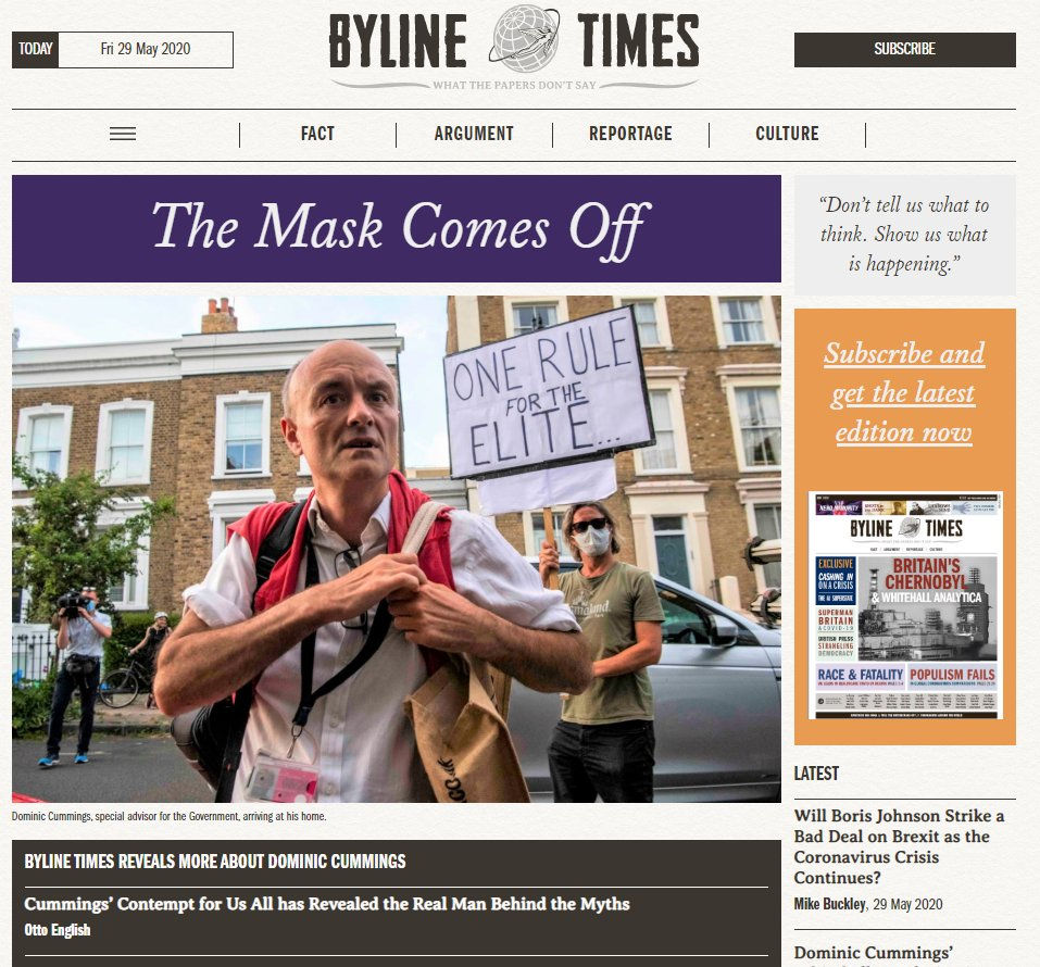 Our weekly digital front page - THE MASK COMES OFF - with headlines by @Otto_English @peterjukes @davidhencke @iainoverton @Okwonga @Baghdaddi @cjwerleman @shaws85 and @CaolanRob SUBSCRIBE: bylinetimes.com PLEDGE FOR OUR BOOK: unbound.com/books/what-the…