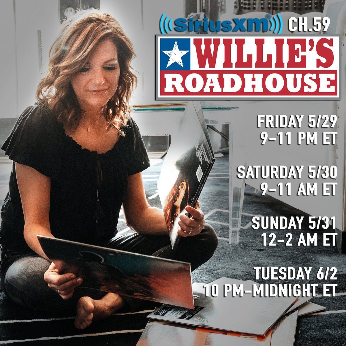 I'm the house guest DJ on @SXMWillie starting tonight! I'll be hand picking some of my favorite country songs and telling y'all some of my favorite memories and moments from shows at the @opry! siriusxm.com/williesroadhou…