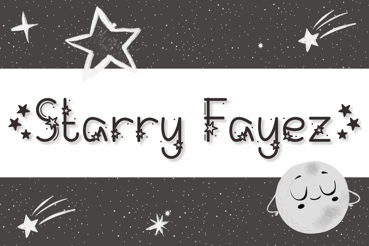 Starry Fayez  #cute #fancy #decoration #decorative #star #starry #fonts #font #designbundles #kids
