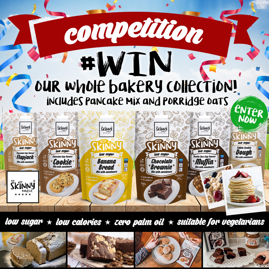 COMPETITION TIME 😍🎉 Were giving you the chance to #WIN the FULL Bakery Collection! To enter: - Like the post - Follow @skinnyfoodco - Retweet this - Tag a friend Good luck everyone 🤞 Winner will be announced on Friday 5th June 🤩 #SkinnyFoodCo #NotGuilty