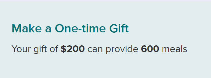I donated 600 meals. Can 200 people donate 3 meals, 100 people donate 6 meals, 10 folks donate 60 meals, etc to match? Please donate only if you are able, these are trying times for everyone. #Skol @2harvest RT to find more folks looking to help secure3.convio.net/shh/site/Donat…