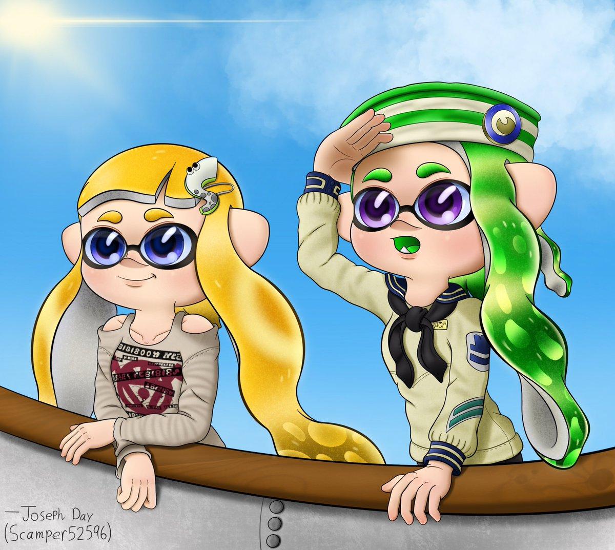 Sailor Jolyne & Shellsea  Peering out into the horizon always makes for a serene moment. Just hoping no one falls into the water...  #Splatoon #Splatoon2 #Nintendo #splatoonart #SplatArt #Inkling #digitalartwork #artistsontwitter