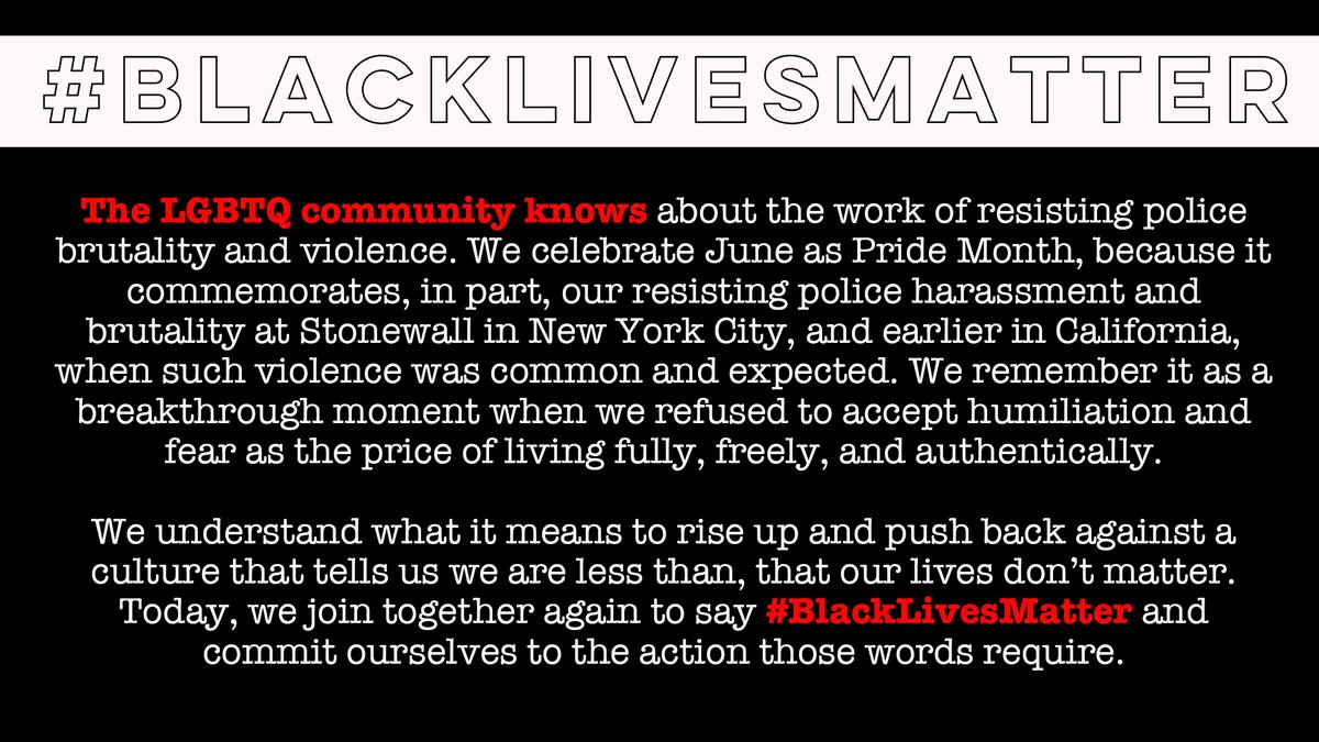 #NCLR co-signed this letter with several dozen #LGBTQ organizations, including: @HRC @LambdaLegal @SouthernEqual @eqca @equalityfl @EqualityTexas @glaad @freedom4allusa @GLADLaw @GLSEN @lgbtmap @TransEquality @TrevorProject @PFLAG + MANY others because #BlackLivesMatter. https://t.co/nkCLXdrsBp https://t.co/30vFUfEXxm