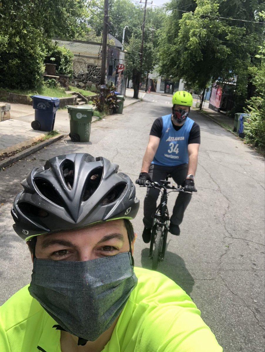 Thank you to ⁦@CommishATLDOT⁩ for riding many of D2's streets w/ me today. We looked at bike lanes, sidewalks, street use, crosswalks, pedestrian right of way at construction sites, & more. https://t.co/Cqr0hQEn3m
