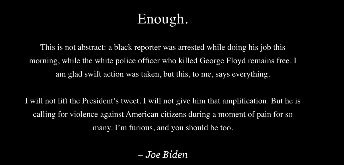 Bidens campaign has put his Enough Twitter thread from this morning at the top of all bit.ly/3gzCUg2 pages