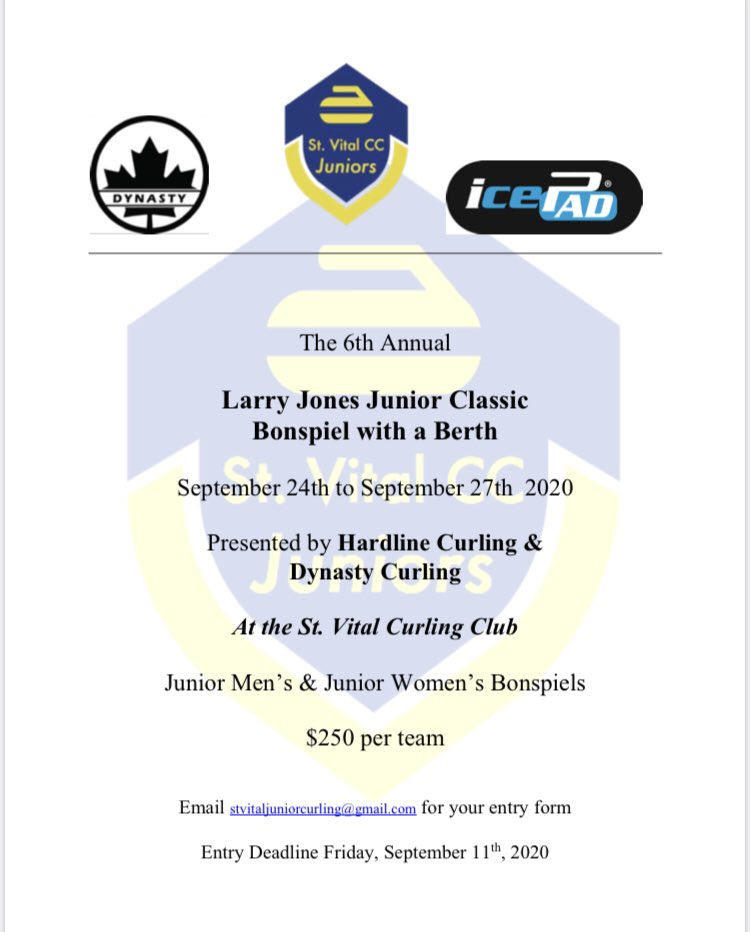 Registration is open for the Larry Jones Junior Classic @stvitalcc!Request your entry at the email on the poster! It's a Bonspiel with a Berth, so don't miss out!! September 24 to 27 <br>http://pic.twitter.com/O61bOWqQdG