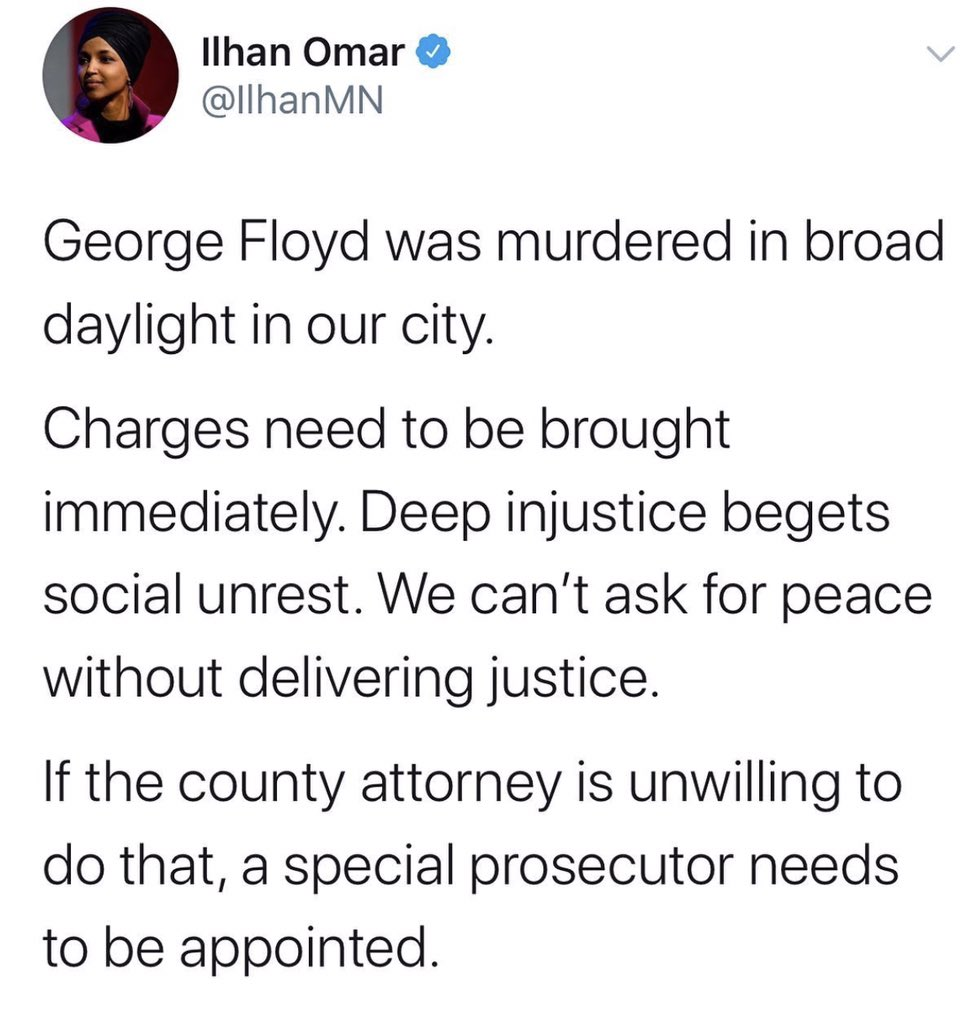 """""""Can't ask for peace without delivering justice."""" -@IlhanMN"""
