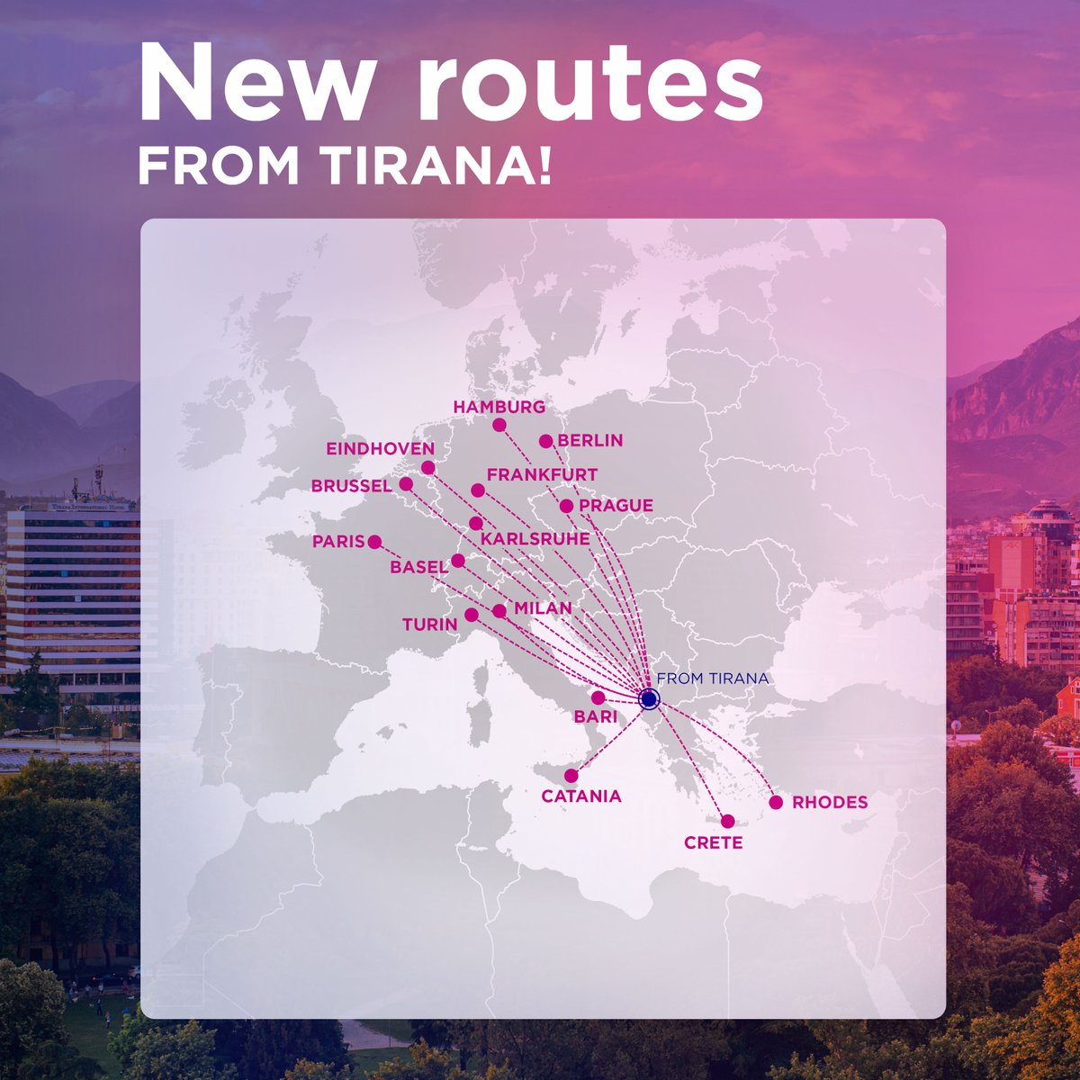Wizz Air On Twitter New Routes From Tirana Are You Ready To Say Yes Again To Travelling Tirana We Re Finally Here For You From The 1st Of July We Re Taking You