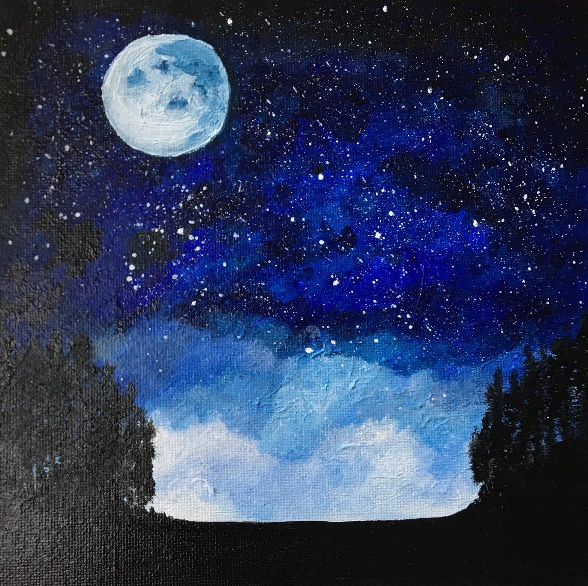 "Moonlight #HarshadaKhare #Acryliconcanvas, 20*20 cm, 8""x8"", 2019, You can #purchase #painting #online  #decorative #landscape #india #original #handmade #exquisiteart #singapore #art #bestoftheday #design #drawing #inspiration #artist #artwork #onlineshop"