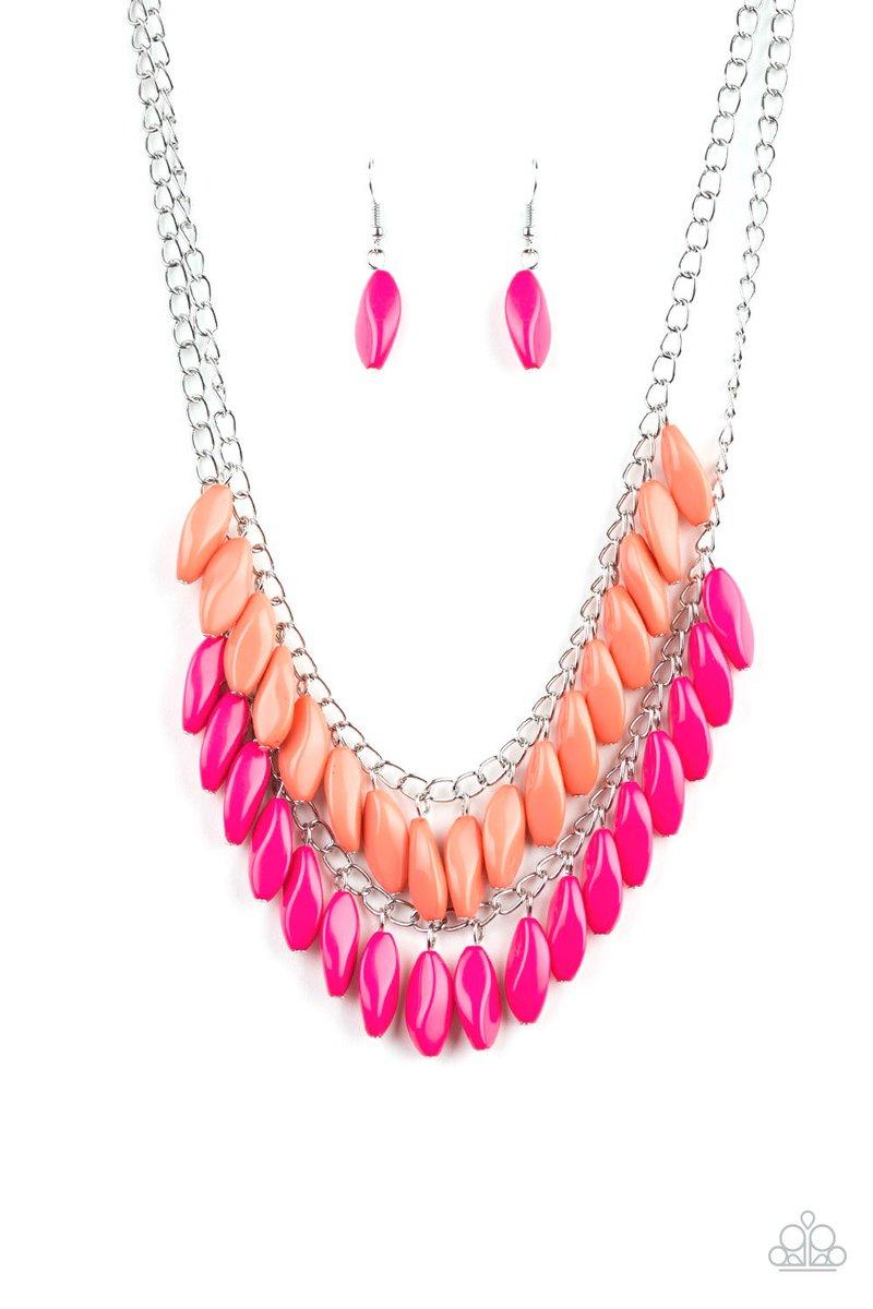 Beaded Boardwalk - Pink &5  405-492-7250  #paparazziaccessories #dollarhabit #paparazzijewelry #dollarbling #jewelry #paparazziconsultant #dollarjewelry #fashion #leadandnickelfree #paparazzi #joinmyteam #fivedollarhabit #necklace #affordablefashion