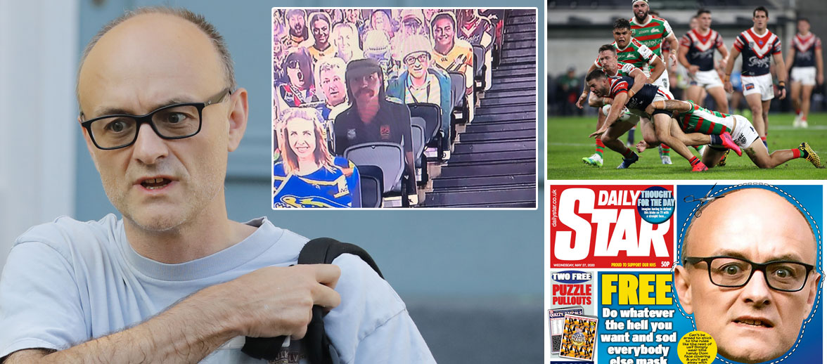 Dominic Cummings cardboard cutout spotted in stands at Australian NRL rugby match dailystar.co.uk/sport/football…