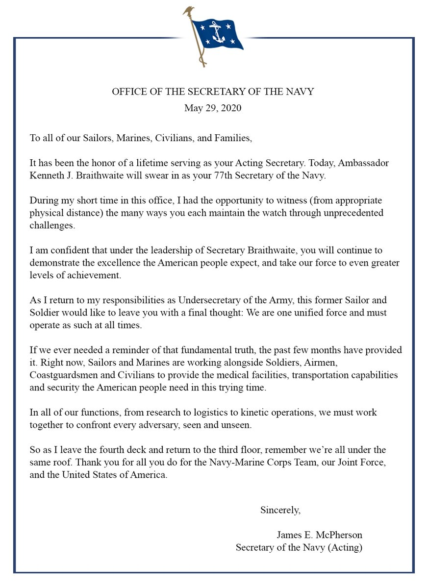 Acting #SECNAV James E. McPherson's Farewell Message to the #DoN. Fair winds and following seas, Secretary McPherson. Thank you for your dedication and commitment to #Sailors & #Marines and DoN civilians.