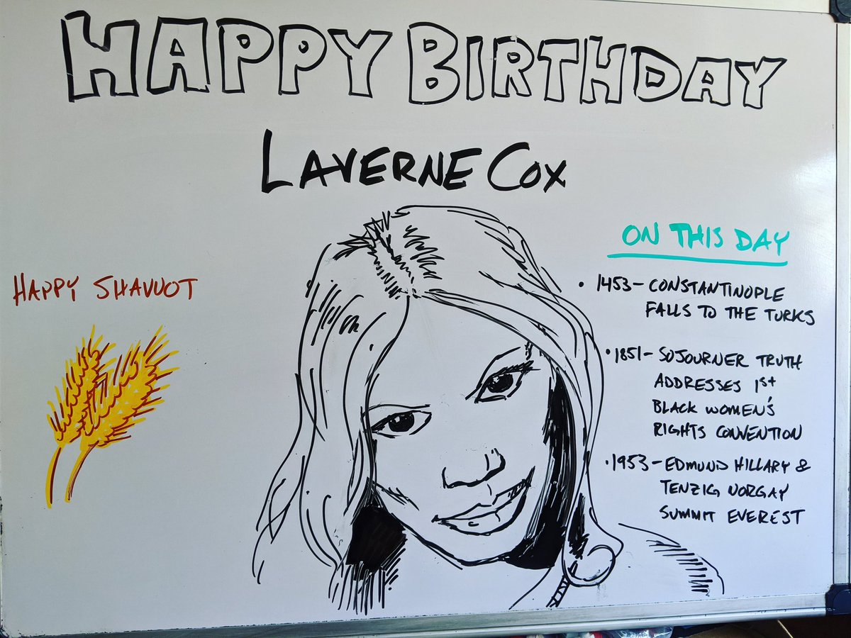 Happy Birthday, Laverne Cox.  #lavernecox #birthday #oitnb #transgender #sojournertruth #constantinople #everest #shavuot #doodles #drawing #whiteboardart #wfh https://t.co/MOXFLmEcgH