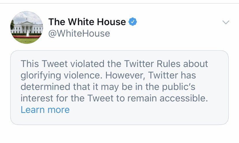 The White House has violated the Twitter Rules about glorifying violence. https://t.co/XaC2bAbsw7
