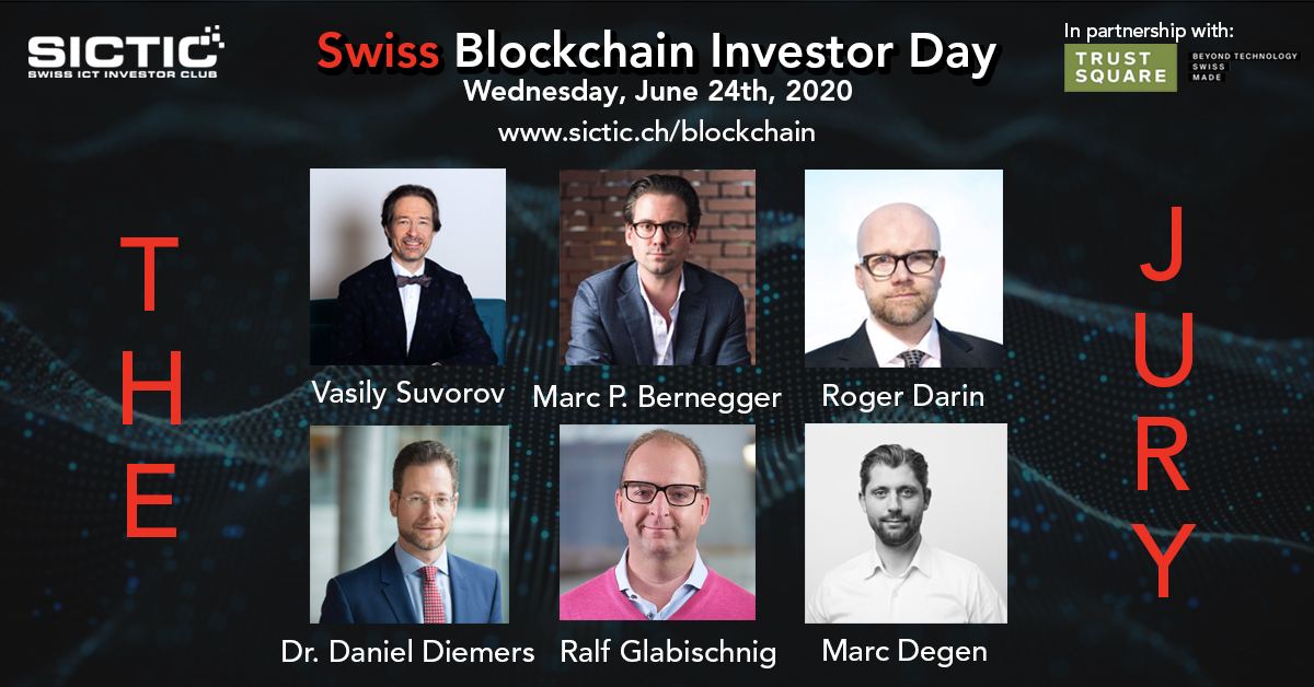 Today we present the jury of the 4th edition of Swiss #Blockchain Investor Day on 24.6. We are happy to have @DanielDiemers, @GLRalf, @marcpbernegger, @RogerDarin, Marc Degen, and Vasily Suvorov in the team. Learn more about the blockchain experts: sictic.ch/blockchain #SIBD20