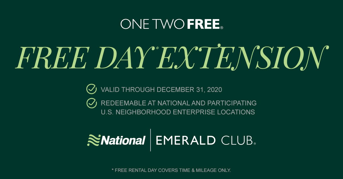 Emerald Club members, your free rental days earned through #OneTwoFree are now valid through Dec. 31, 2020, and can also be redeemed at participating U.S. @Enterprise neighborhood locations. Terms apply. Learn more: bit.ly/3gCzjxN #GoLikeAPro