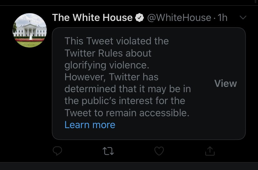 The White House has been flagged for promoting violence.  History will remember this chapter as an ignominious stain begotten by the lawlessness of one man and the complicity of his administration and party.