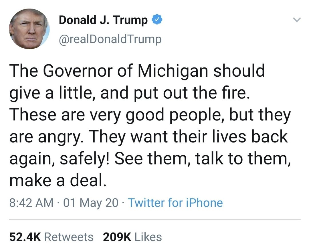 Two starkly different tones coming from Trump for the MI protests and the MN protests. #ThisIsAmerica
