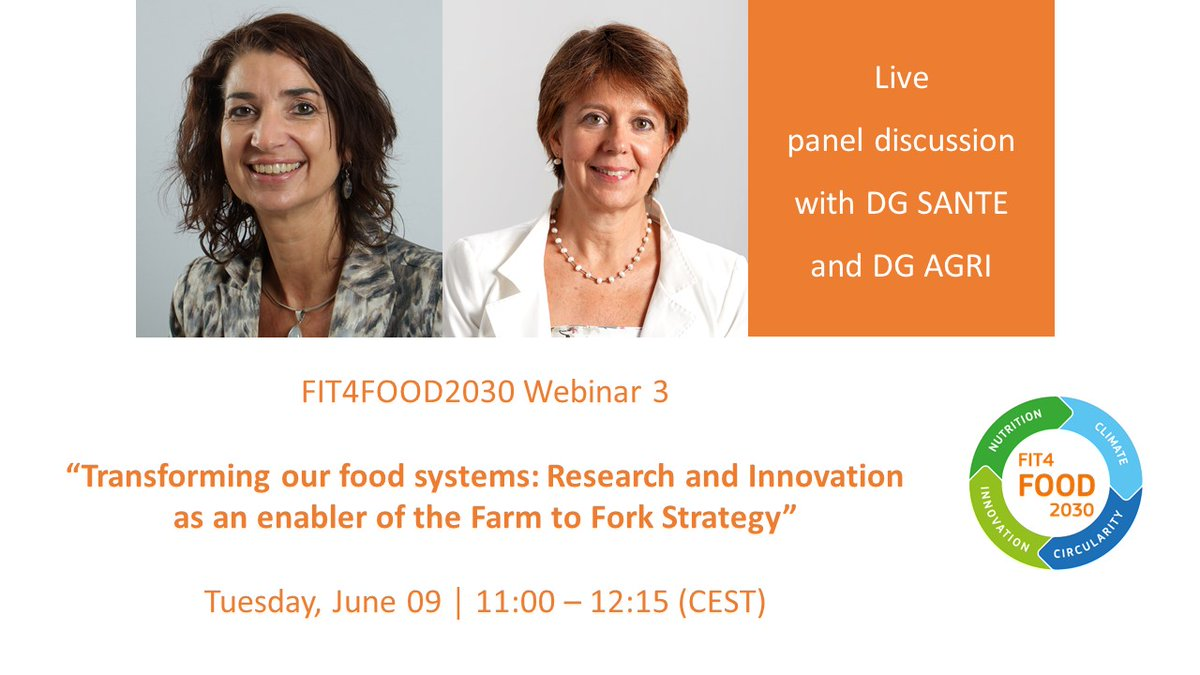 📢 #FIT4FOOD2030 launched a 𝐅𝐑𝐄𝐄 webinar series The 3rd webinar will explore how R&I can enable policy development & @EU_Health will present the #EUFarm2Fork Strategy. #FOOD2030EU ⏰ Tuesday, June 09, 11:00-12:15 CEST More info & registration here: events.streamgo.co.uk/FIT4FOOD2030/r…