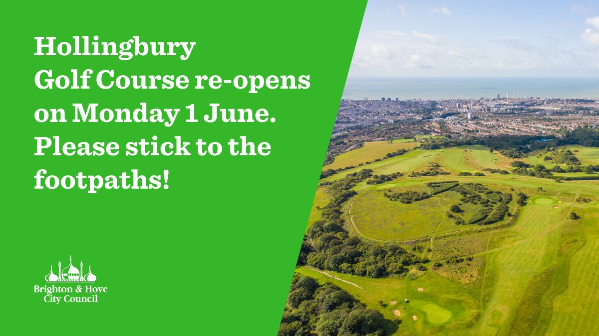 Please take care when Hollingbury Golf Course reopens, as it is not a public park 🏌️‍♀️🏌️‍♀️🏌️‍♀️ ❗Golf balls can travel at 100mph so straying from the paths can be very dangerous ❗ Please keep to the paths and stay safe ow.ly/3hs650zSkDL