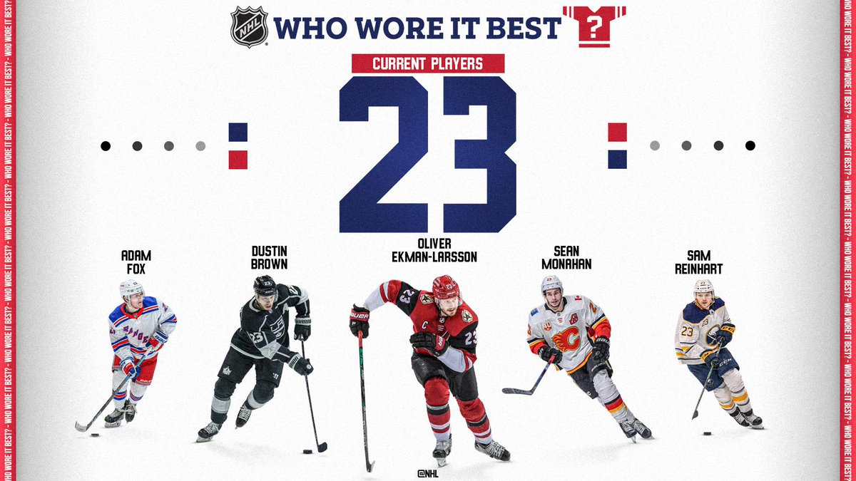 Who's the best player wearing No. 23 in the game today?  @NHLdotcom debates ➡️    Check out a new episode of NHL's Who Wore it Best? today at 5p ET on our Facebook, YouTube and IGTV.