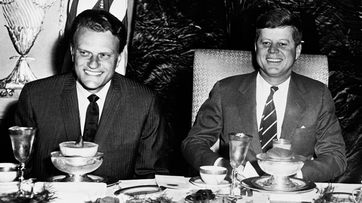 """Today would have been President John F. Kennedy's birthday. He once said, """"The rights of man come not from the generosity of the state but from the hand of God."""" This picture of him and my father @BillyGraham was taken at the #NationalPrayerBreakfast in 1961. #Throwback"""