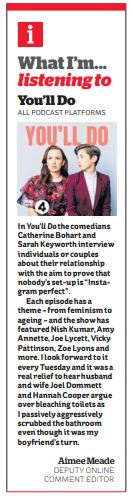 Heres me in @theipaper talking about my favourite lockdown listen - the brilliant @BBCRadio4 podcast Youll Do from @sarahkcomedy and @CatherineBohart. You can listen here: bbc.co.uk/programmes/p08…