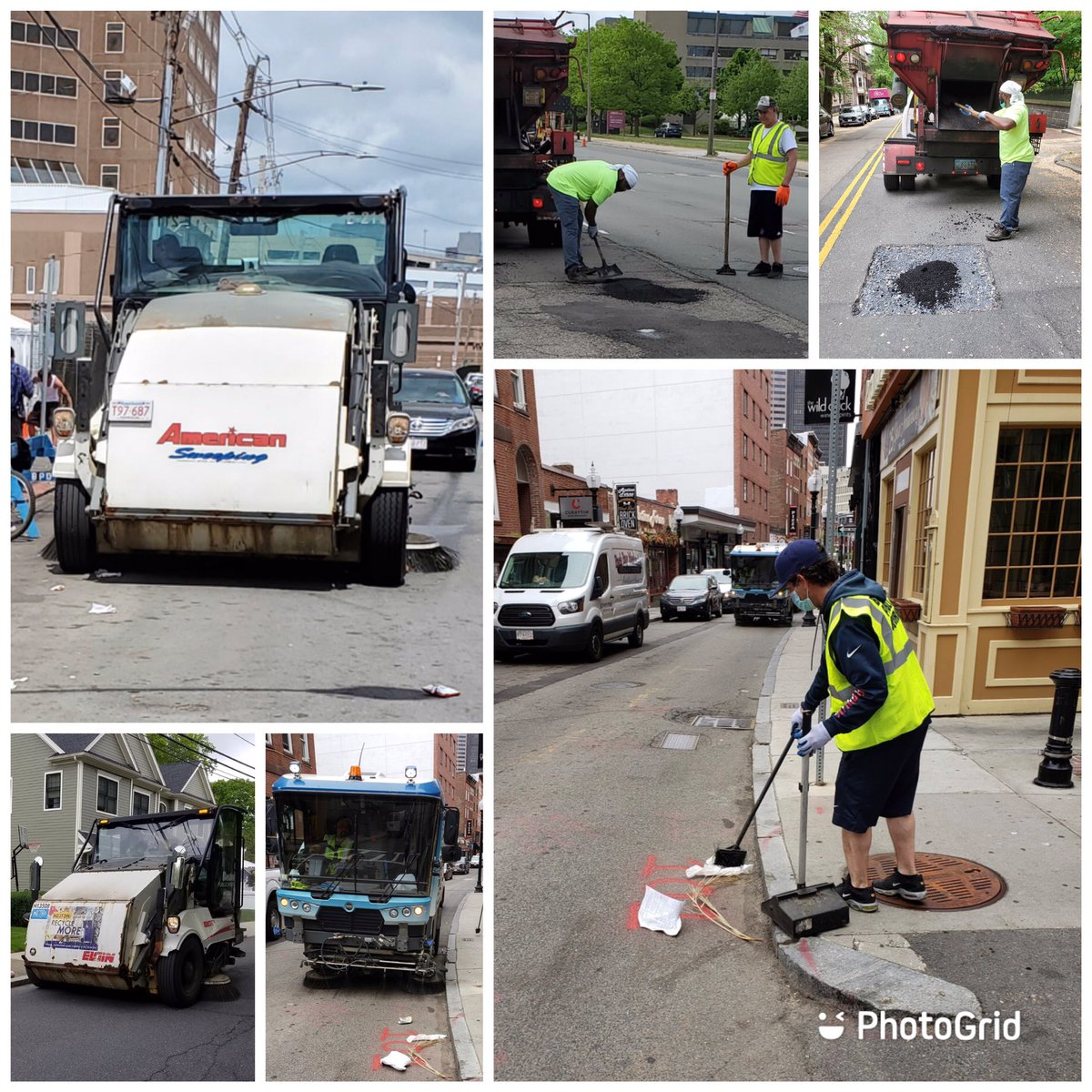 PWD crews continue with cleaning, sweeping and patching operations in the @CityOfBoston. Pics below from the #NorthEnd, #WestRoxbury, #BackBay, #Charlestown and the #SouthEnd.pic.twitter.com/RQwdhFC6mV