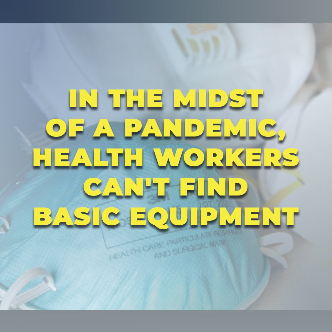 In the midst of a pandemic, health workers cant find basic equipment. We are forced to import: 90% of our surgical masks 70% of respirators 90% pharmaceutical ingredients Corporate trade destroyed our manufacturing base. We must start producing our medical supplies at home.