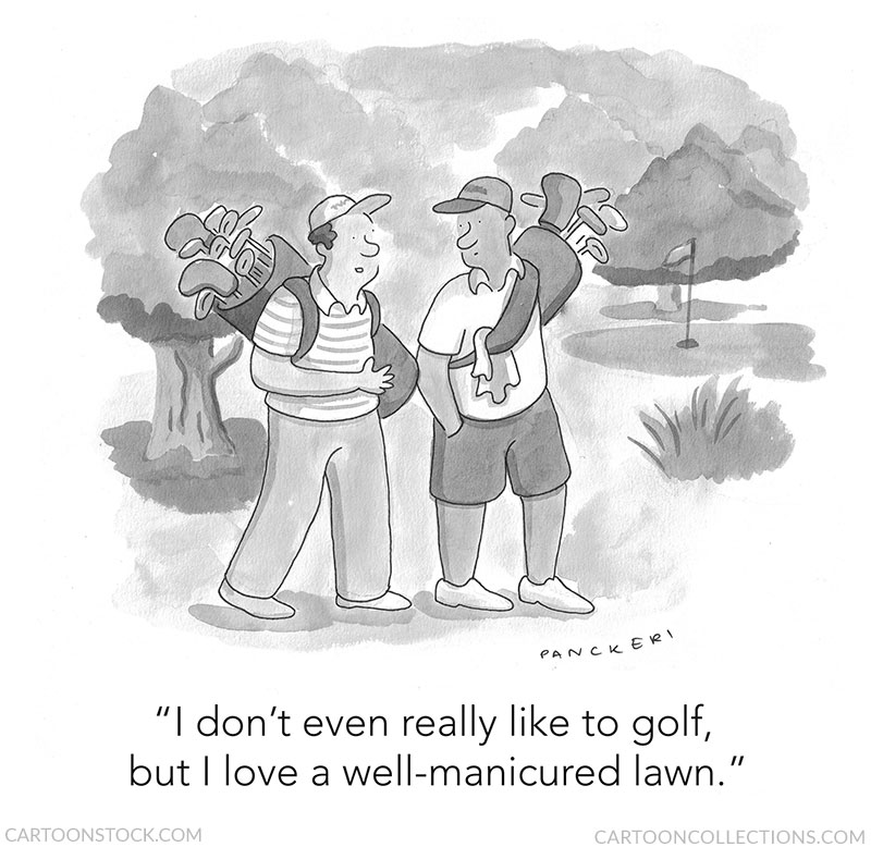 """Share a laugh with Dad this Father's Day! """"I don't even really like to golf, but I love a well-manicured lawn."""" by Drew Panckeri - Buy this cartoon: https://bit.ly/2LQgaKD  #fathersday #dad #cartoons #funny #cartooncollections #tnycartoons #giftideas #dadgifts #golfpic.twitter.com/dLwAYg9ER2"""