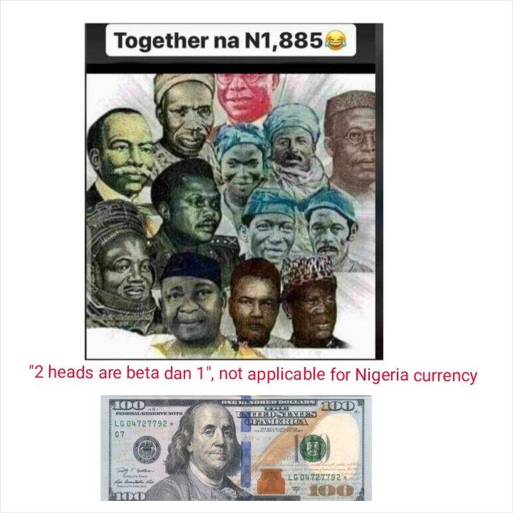 Not until all dis heads are beta than $100, no go dey reason am say naija go beta #democracyday #naijawillbegreatagain<br>http://pic.twitter.com/lzCH5jDvDM