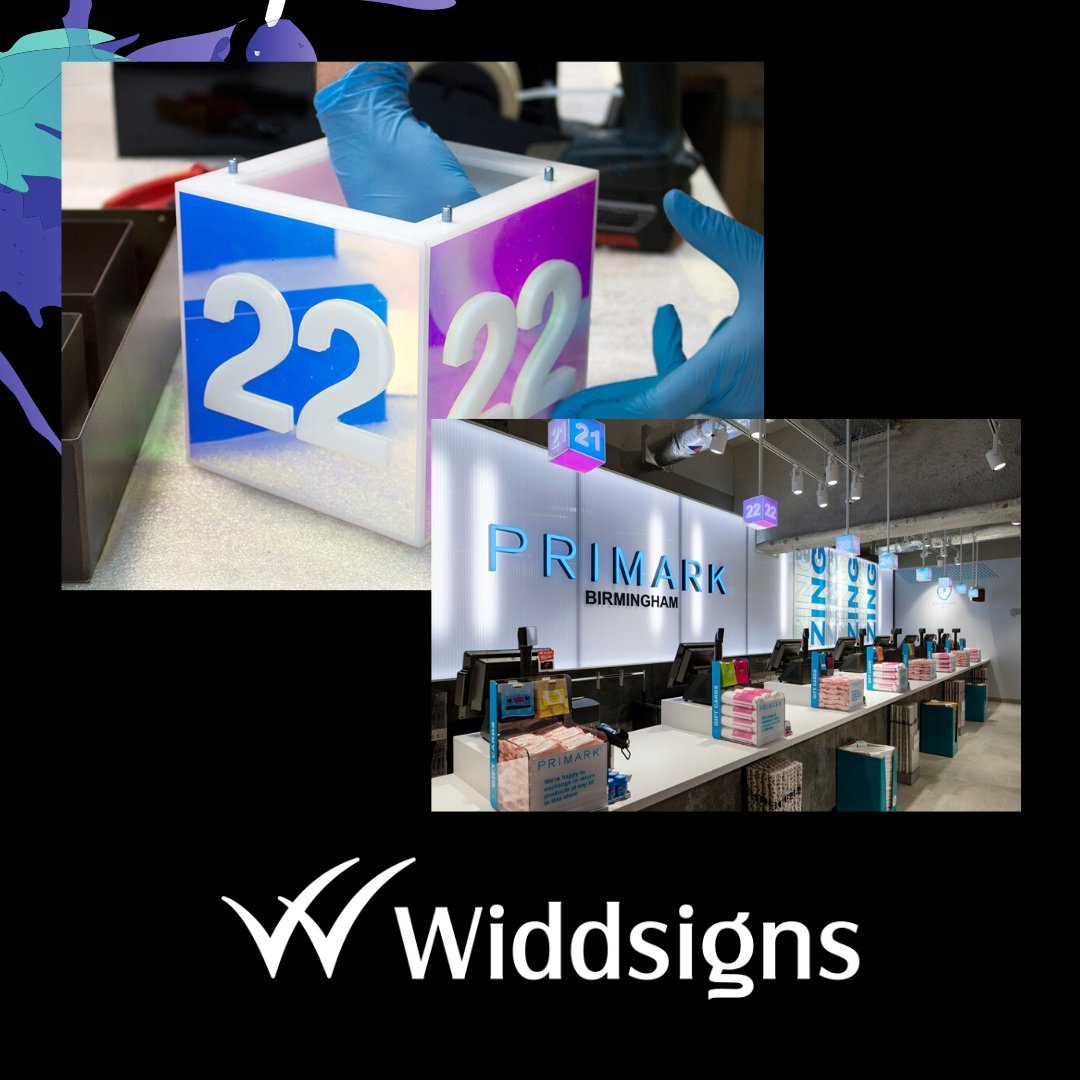 This sign is the shroud for a call forward queue system that was installed at Primark's flagship store in Birmingham.  We used a dichroic film on an acrylic housing so the number lighst up, catching the attention of shoppers.  #sign #illuminate #retail pic.twitter.com/IwEmoGdQEX